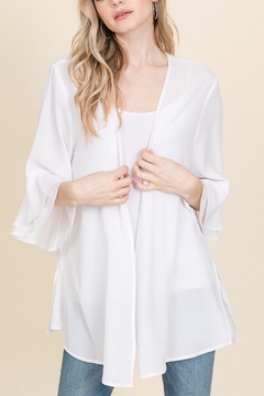 Racheal White Solid Cardigan - Product List Image