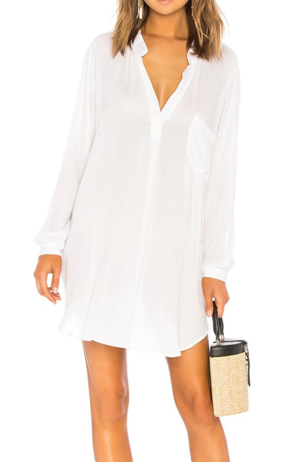 Indah White Solid Tunic - Front Cropped Image