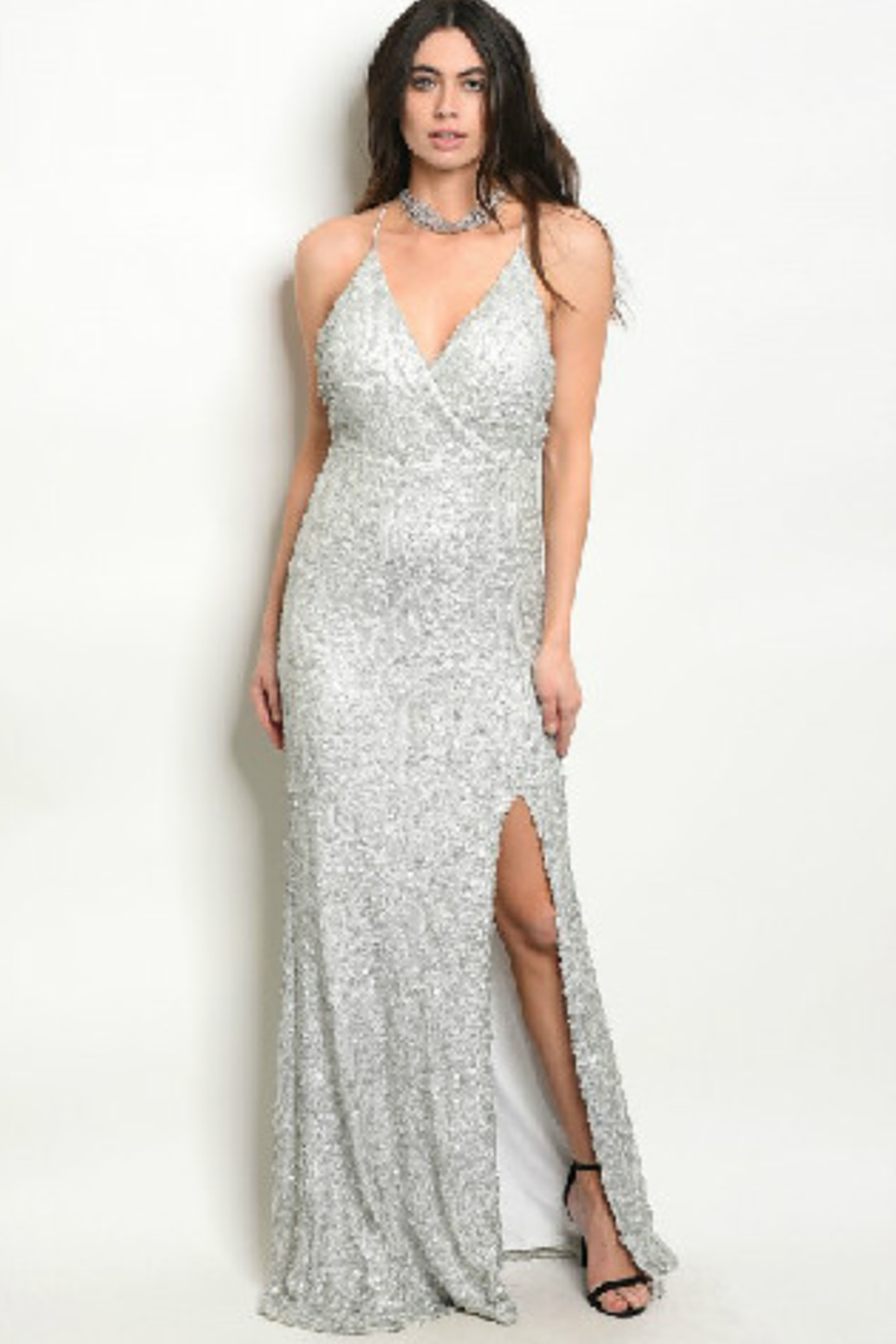 Spy White Sparkle Gown - Main Image