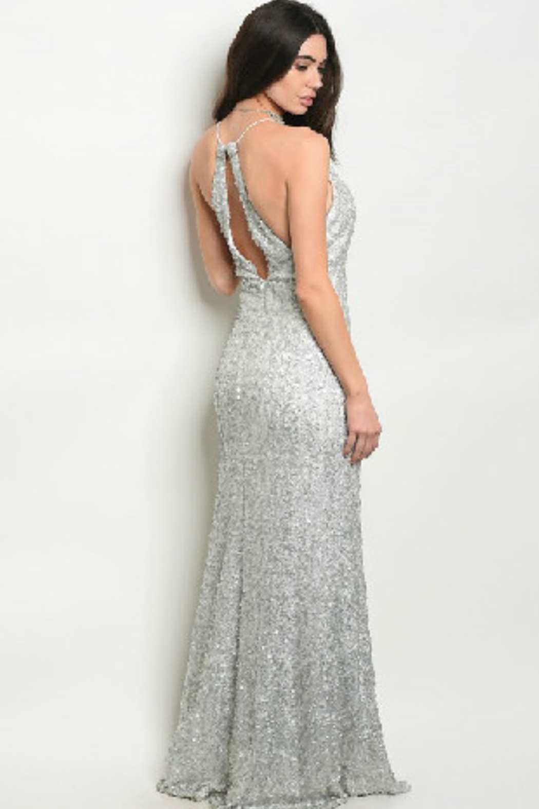 Spy White Sparkle Gown - Front Full Image