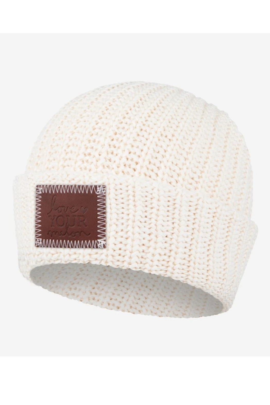 Love Your Melon White Speckled Cuffed Beanie - Front Cropped Image