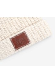 Love Your Melon White Speckled Cuffed Beanie - Front full body