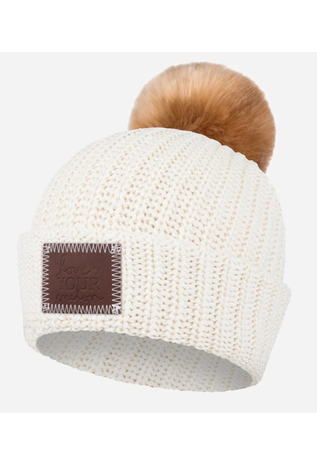 Love Your Melon White Speckled Pom Beanie - Main Image