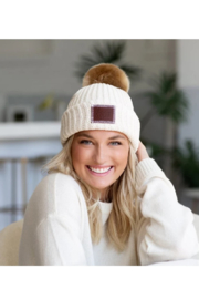 Love Your Melon White Speckled Pom Beanie - Front full body