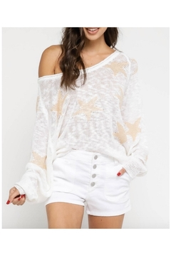 Olivaceous White Star Sweater - Alternate List Image