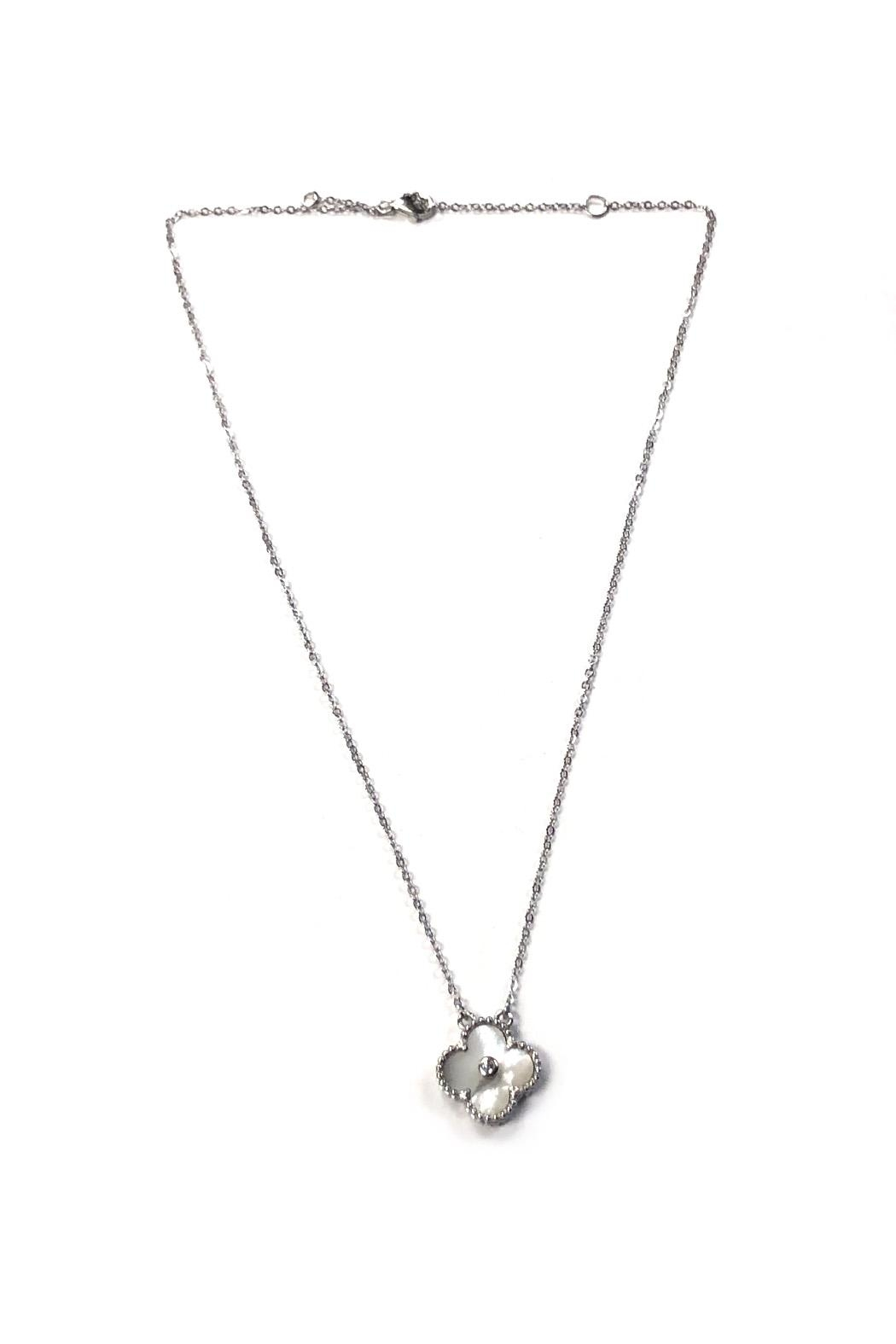 Lets Accessorize White-Stone Clover Necklace - Main Image