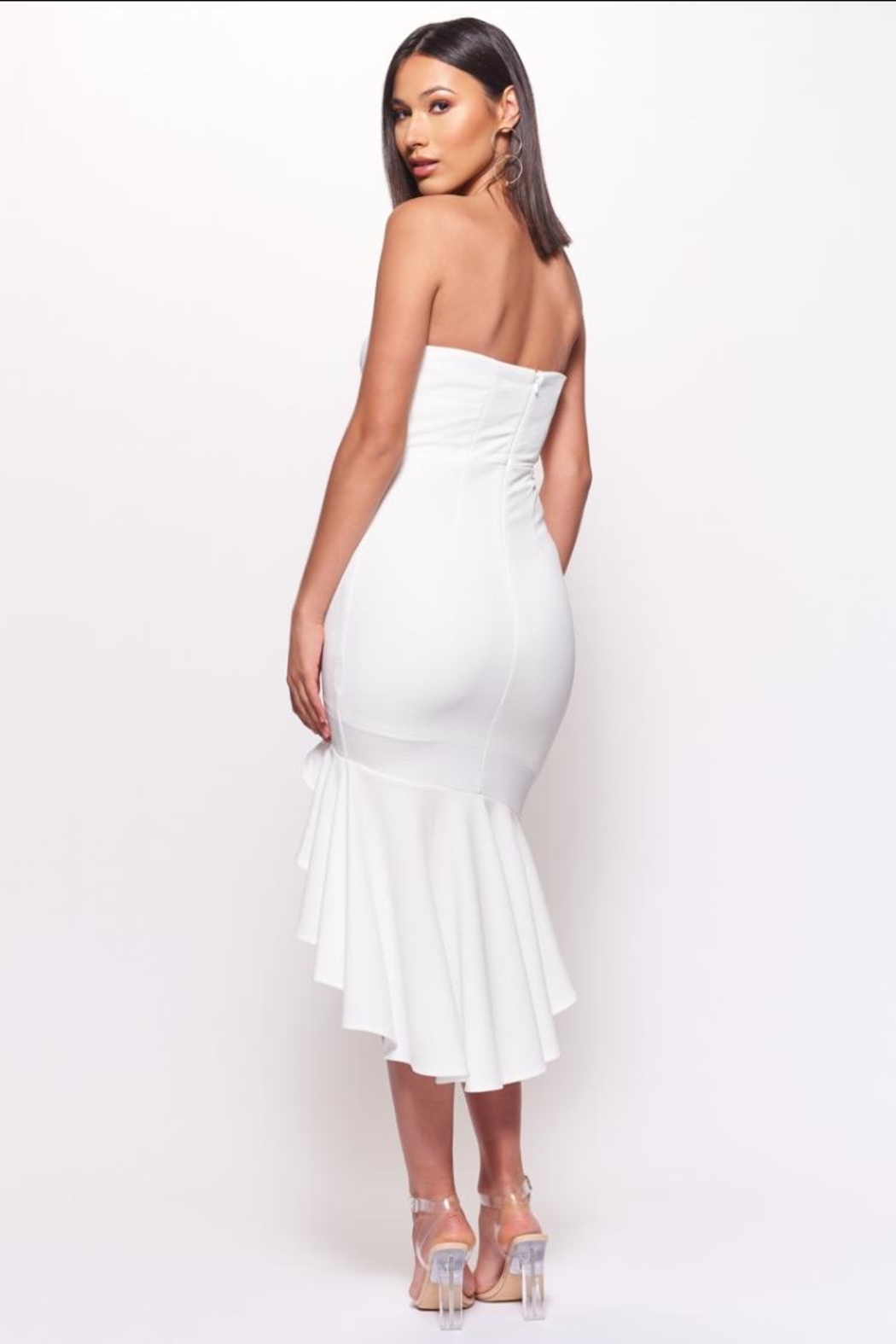 Chikas White Strapless Dress - Side Cropped Image