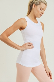 Mono B White Stripe Active Racerback Tank - Front full body