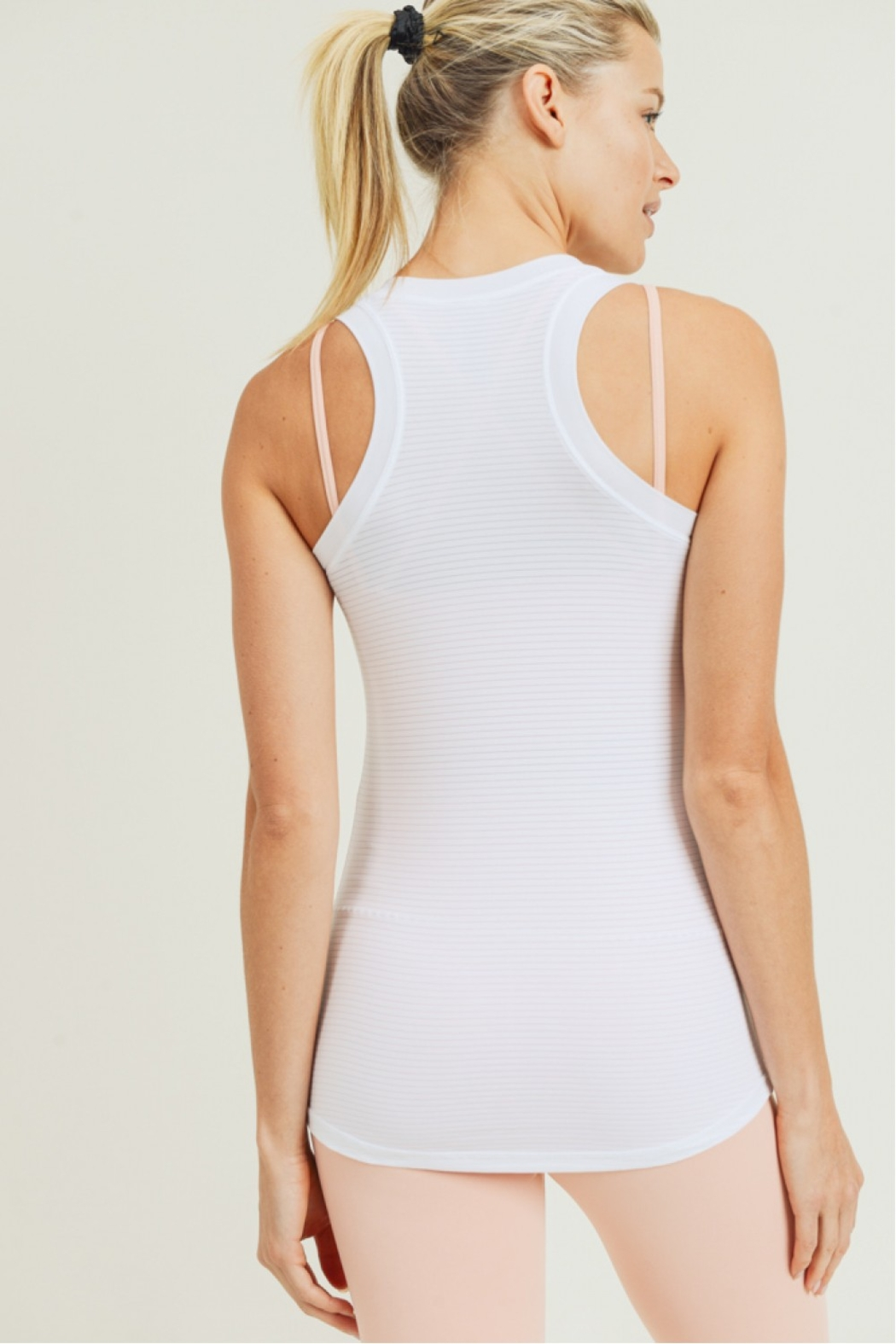 Mono B White Stripe Active Racerback Tank - Side Cropped Image