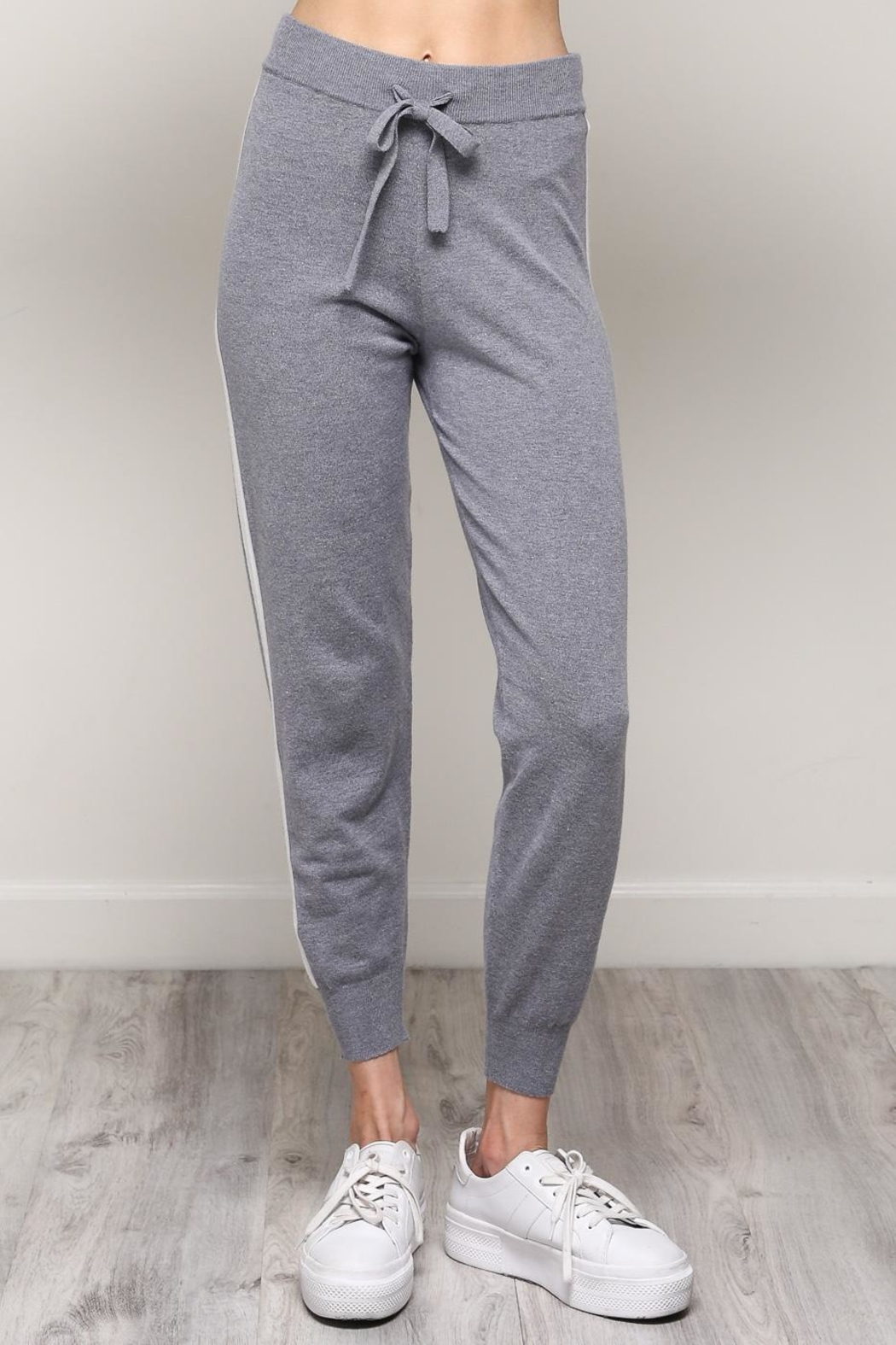 Mustard Seed White Stripe Joggers - Front Full Image