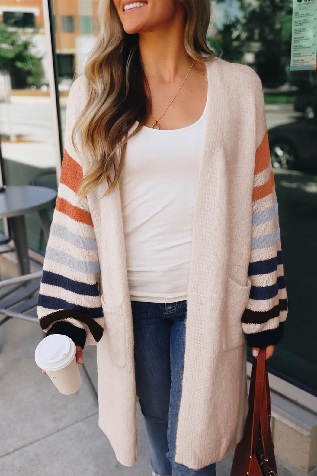 Love Valentine Boutique White Striped Cardigan - Front Cropped Image