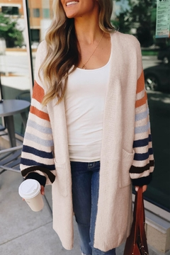 Love Valentine Boutique White Striped Cardigan - Product List Image