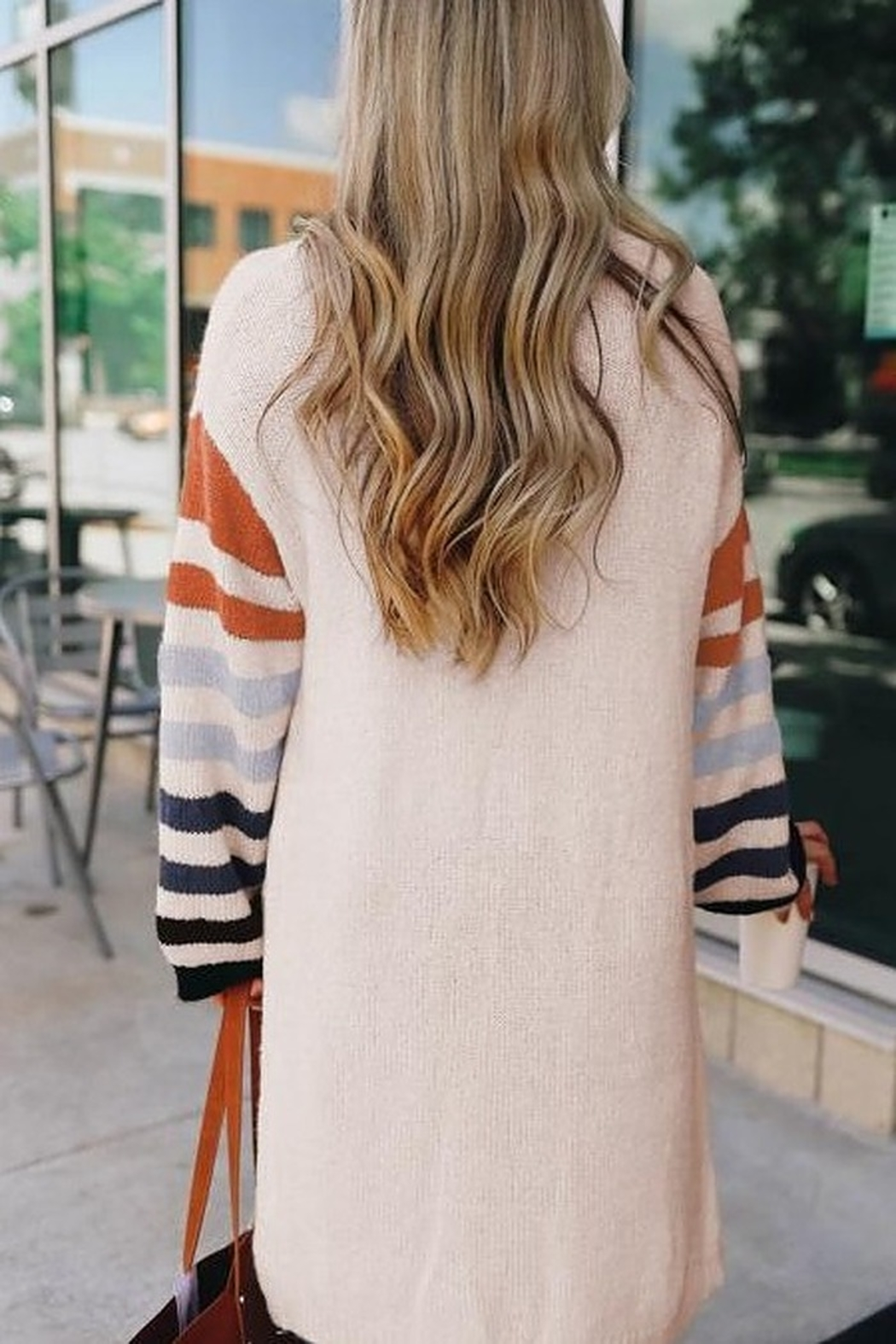Love Valentine Boutique White Striped Cardigan - Front Full Image