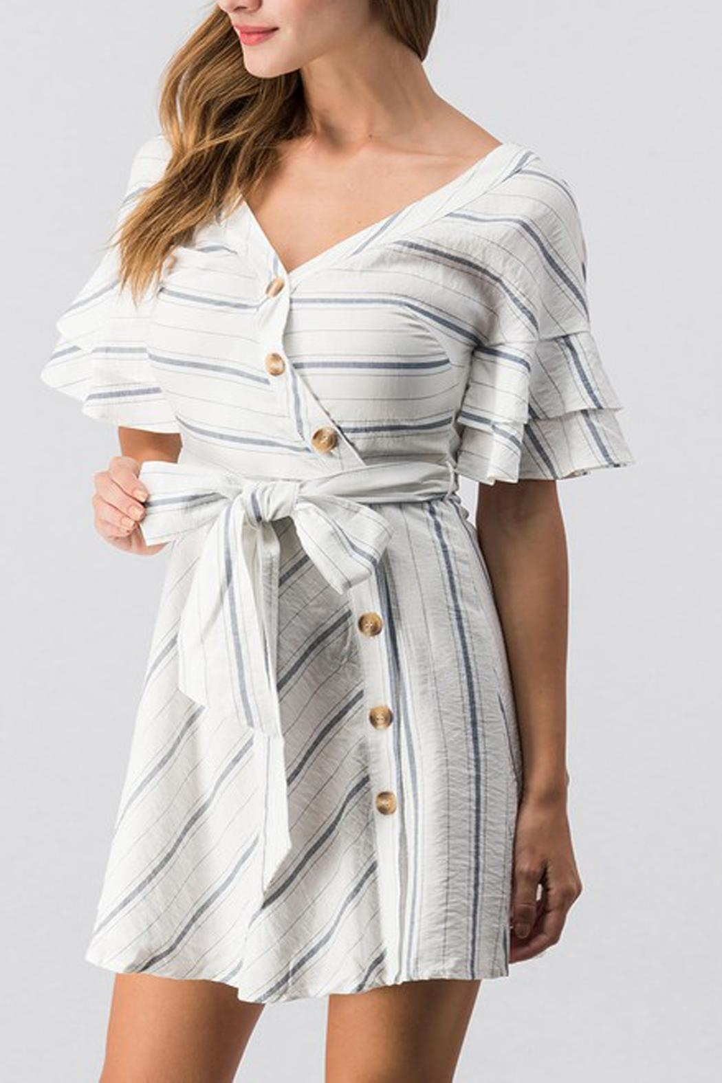 essue White Striped Dress - Side Cropped Image