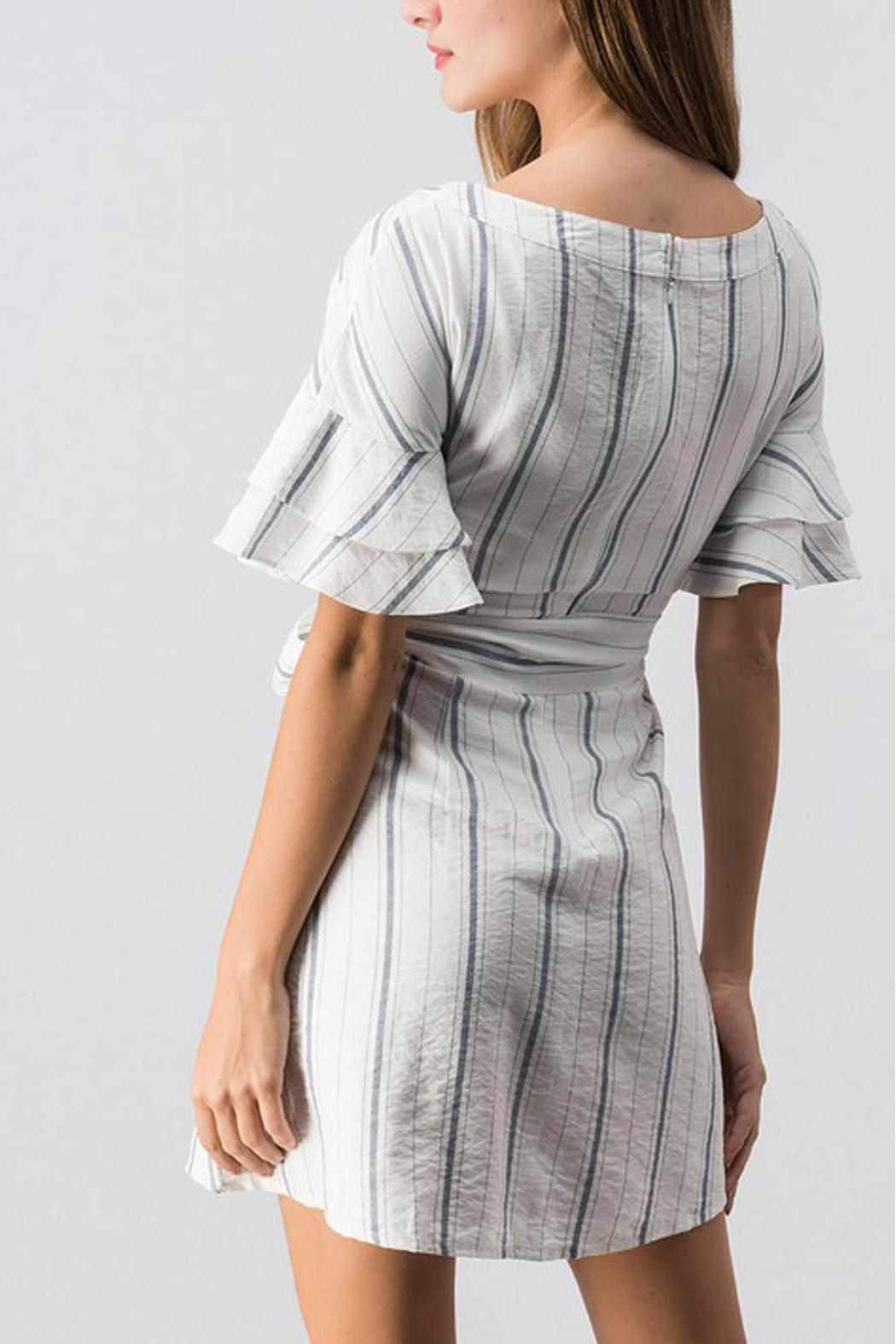 essue White Striped Dress - Front Full Image
