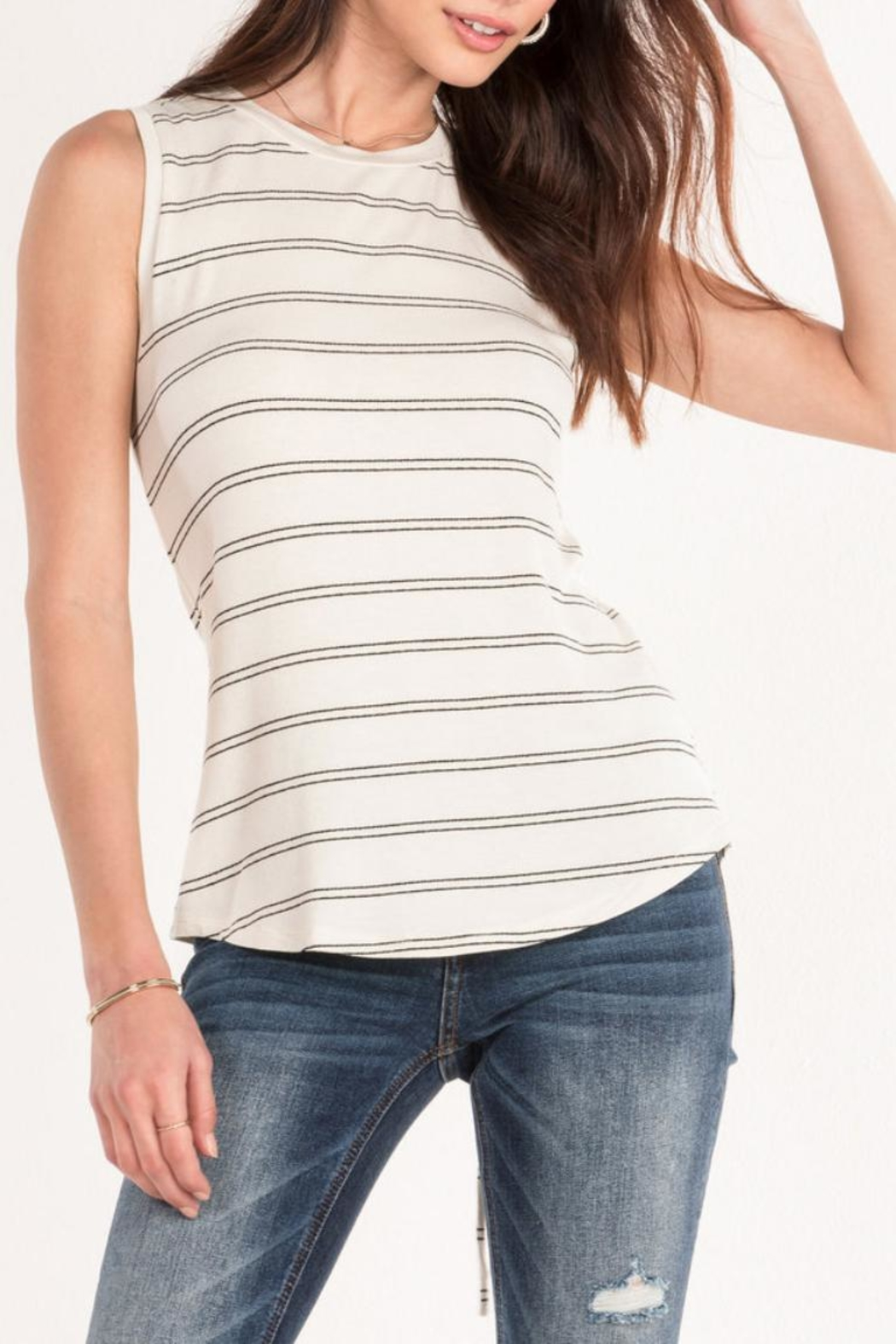 Miss Me White Striped Tank - Front Cropped Image