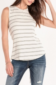 Miss Me White Striped Tank - Front cropped