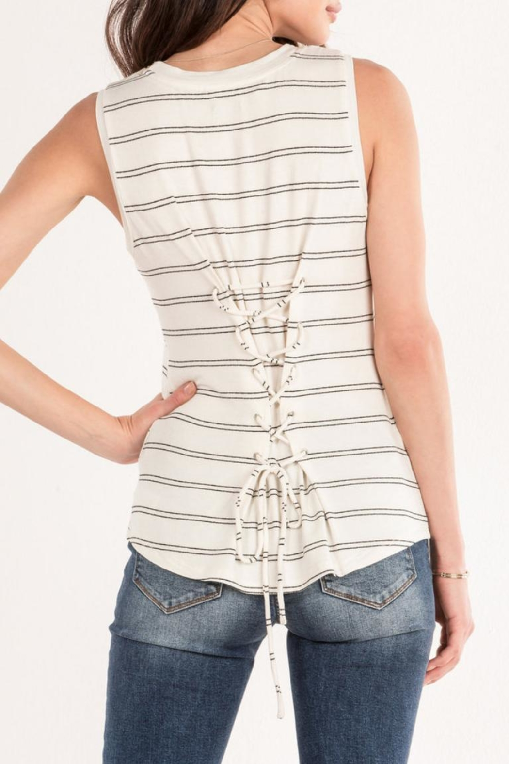 Miss Me White Striped Tank - Side Cropped Image