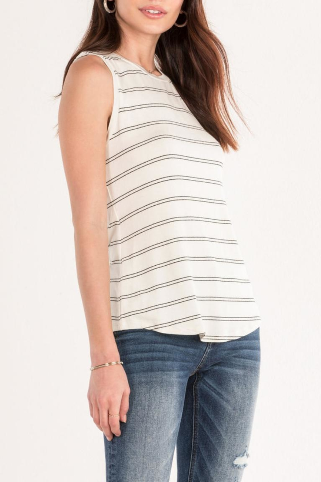 Miss Me White Striped Tank - Front Full Image
