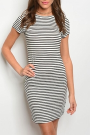 Popular Basics White Stripped Dress - Front cropped