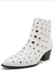 Qupid White Studded Bootie - Front full body