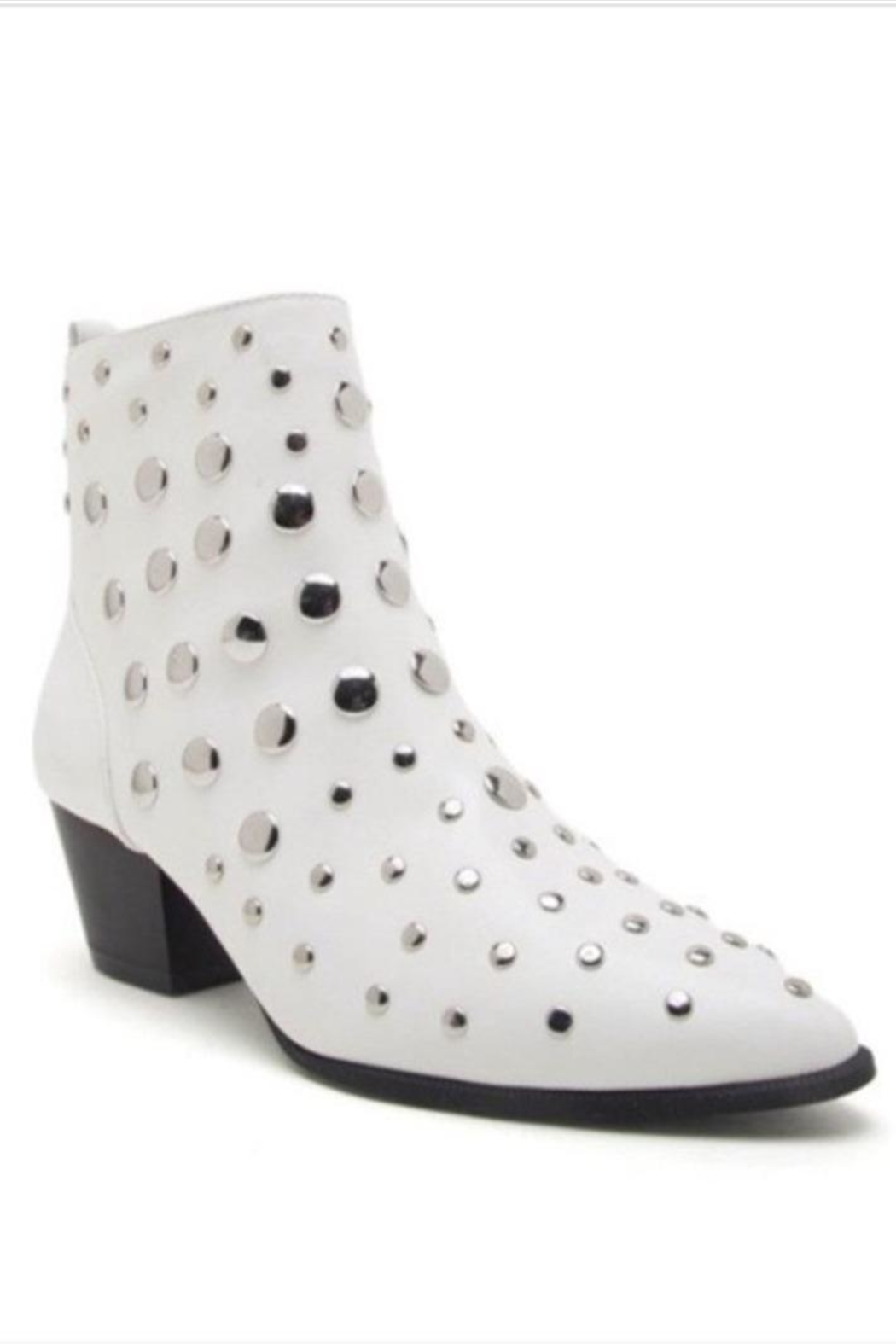 Qupid White Studded Bootie - Front Cropped Image