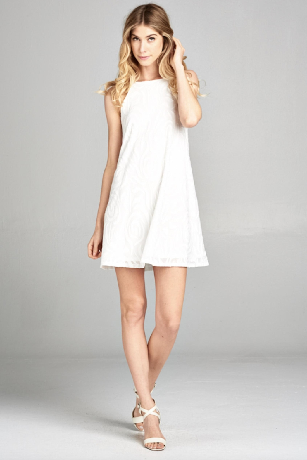 Lazy Sundays White Summer Dress - Front Cropped Image