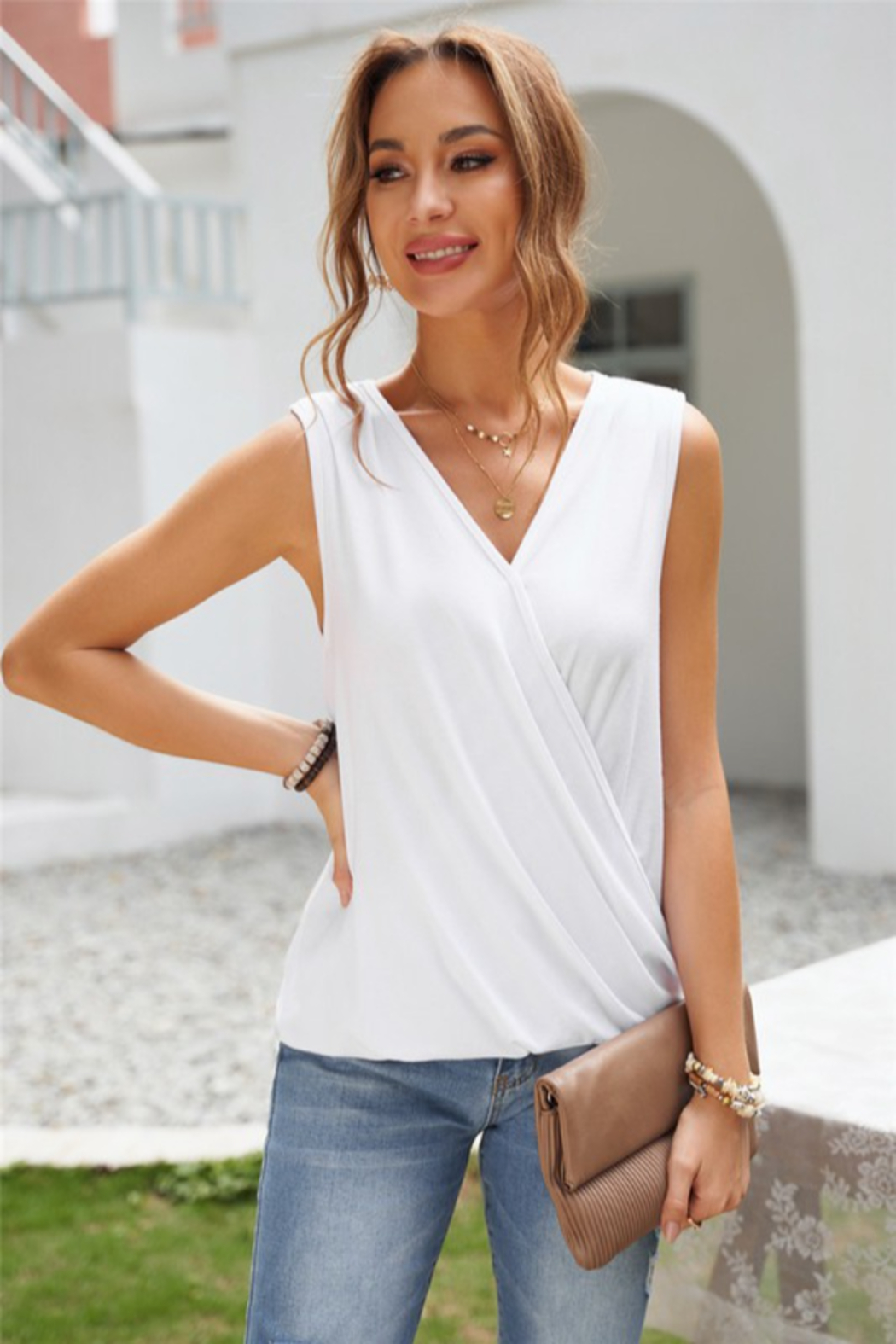 Shewin  White Surplice V Neck Tank - Main Image