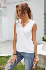 Shewin  White Surplice V Neck Tank - Front full body
