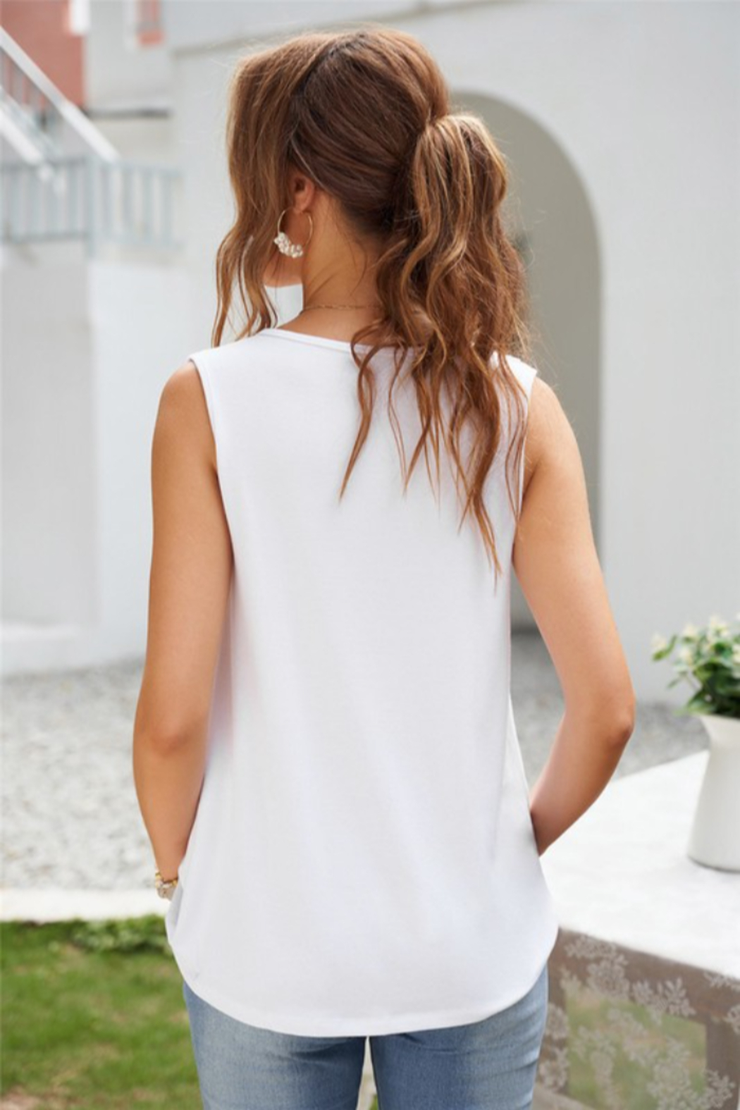 Shewin  White Surplice V Neck Tank - Side Cropped Image