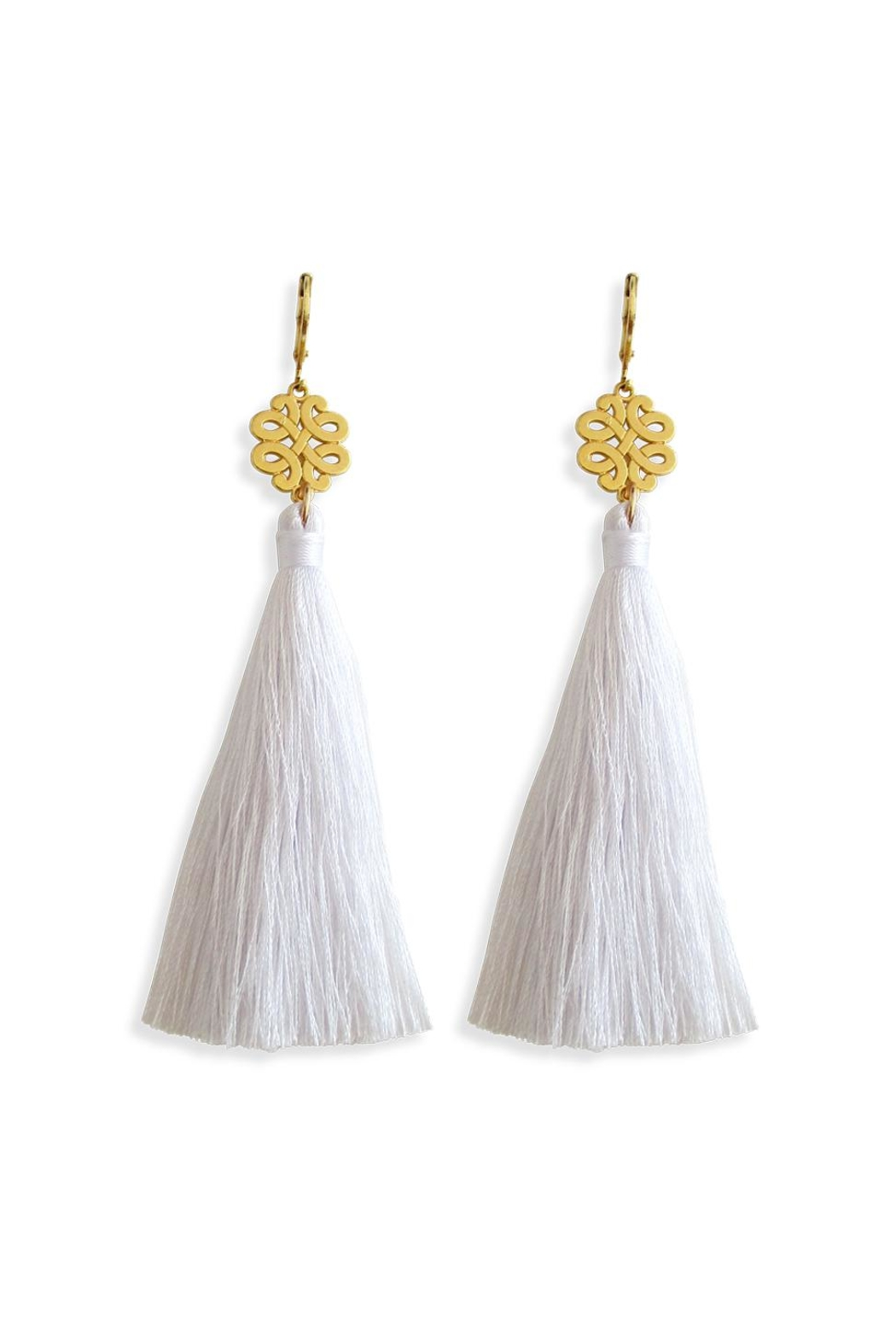 Malia Jewelry White Tassel Earrings - Front Cropped Image
