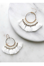 Rush by Denis & Charles White Teardrop Tassel Earrings - Product Mini Image