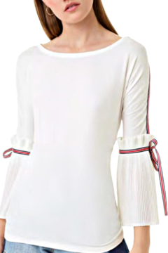 Alberto Makali White Tee with  Pleated Sleeve and Ribbon Accent - Alternate List Image