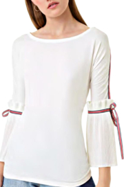 Alberto Makali White Tee with  Pleated Sleeve and Ribbon Accent - Product Mini Image