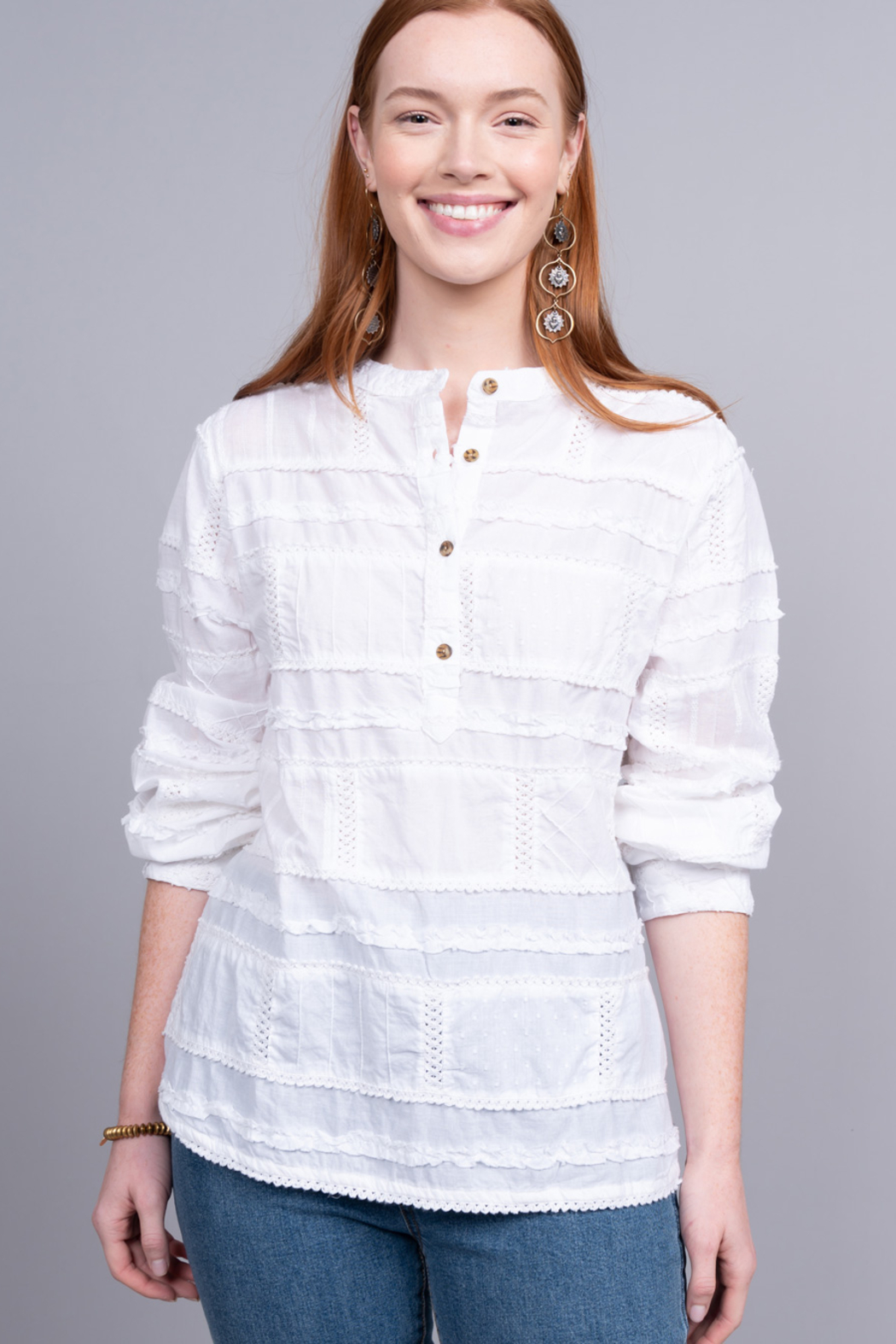 Ivy Jane  White Textured Patch Henley - Main Image