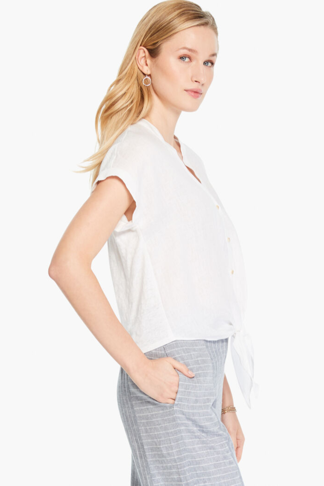 Nic +Zoe White tie front top - Side Cropped Image