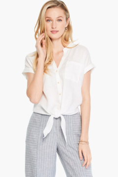 Nic +Zoe White tie front top - Product List Image
