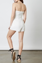 Cotton Candy White Tie Romper - Front full body