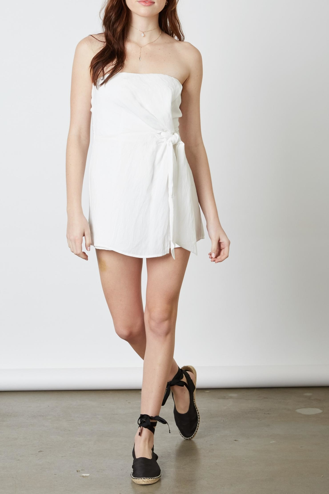 Cotton Candy White Tie Romper - Front Cropped Image
