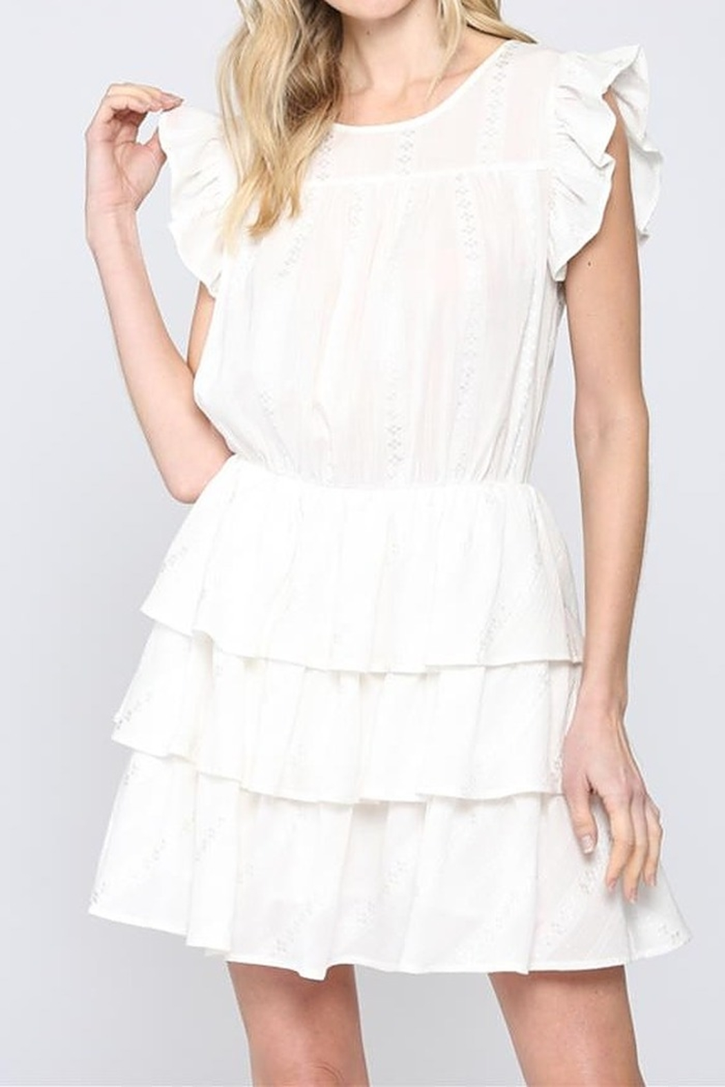FATE  White Tiered dress - Main Image