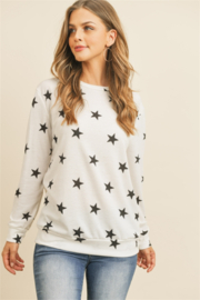 perfect peach White top black stars - Front cropped