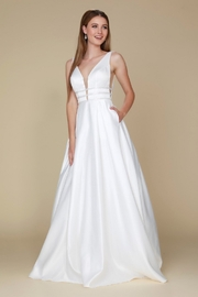 NOX A N A B E L White Triple Waistband Satin Bridal Ball Gown - Product Mini Image