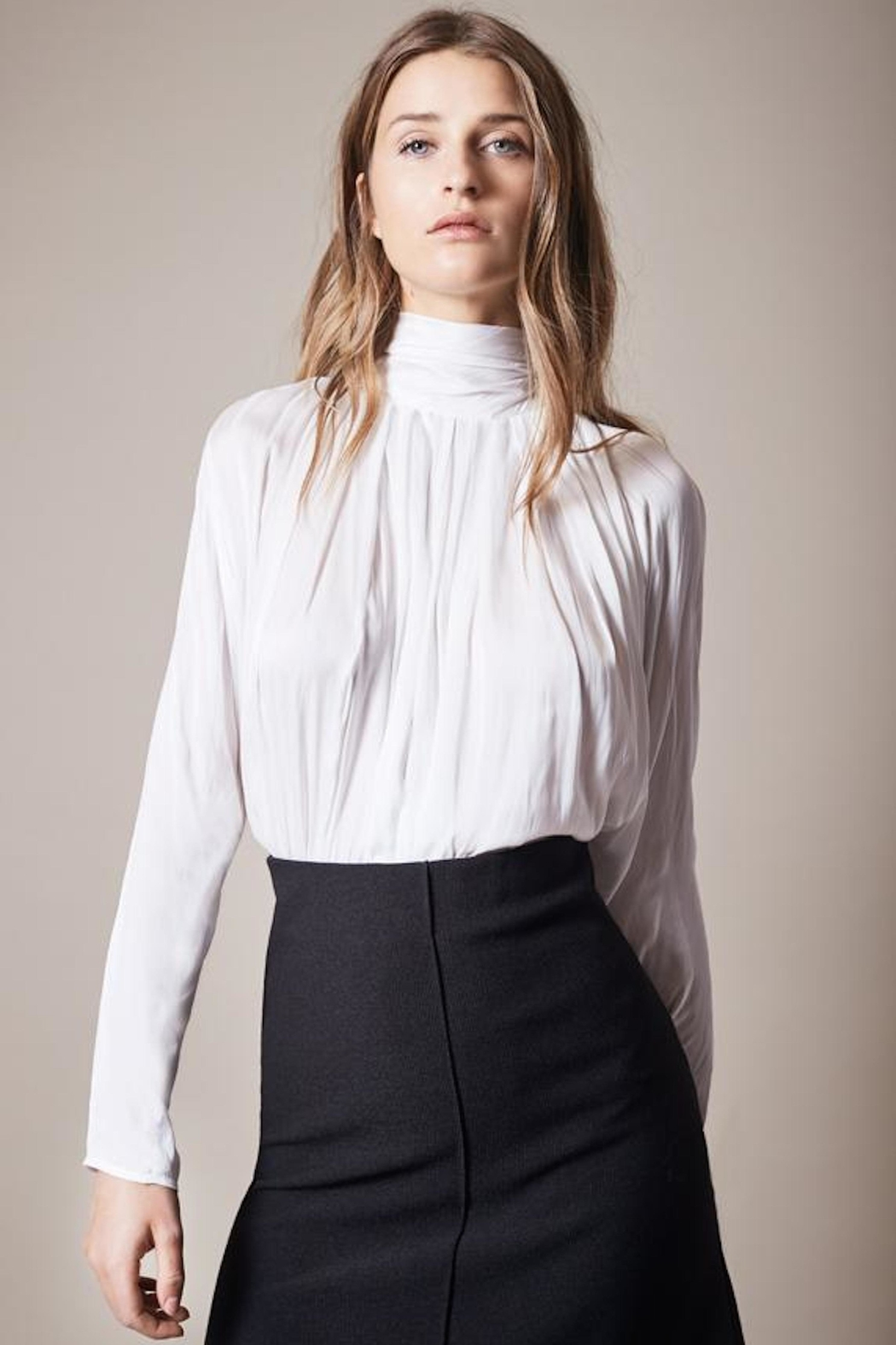 Smythe White Turtleneck Blouse - Main Image