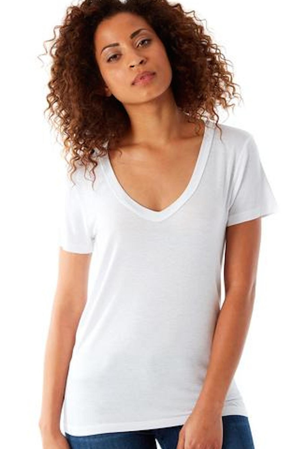143 Story White V-Neck Tee - Front Cropped Image