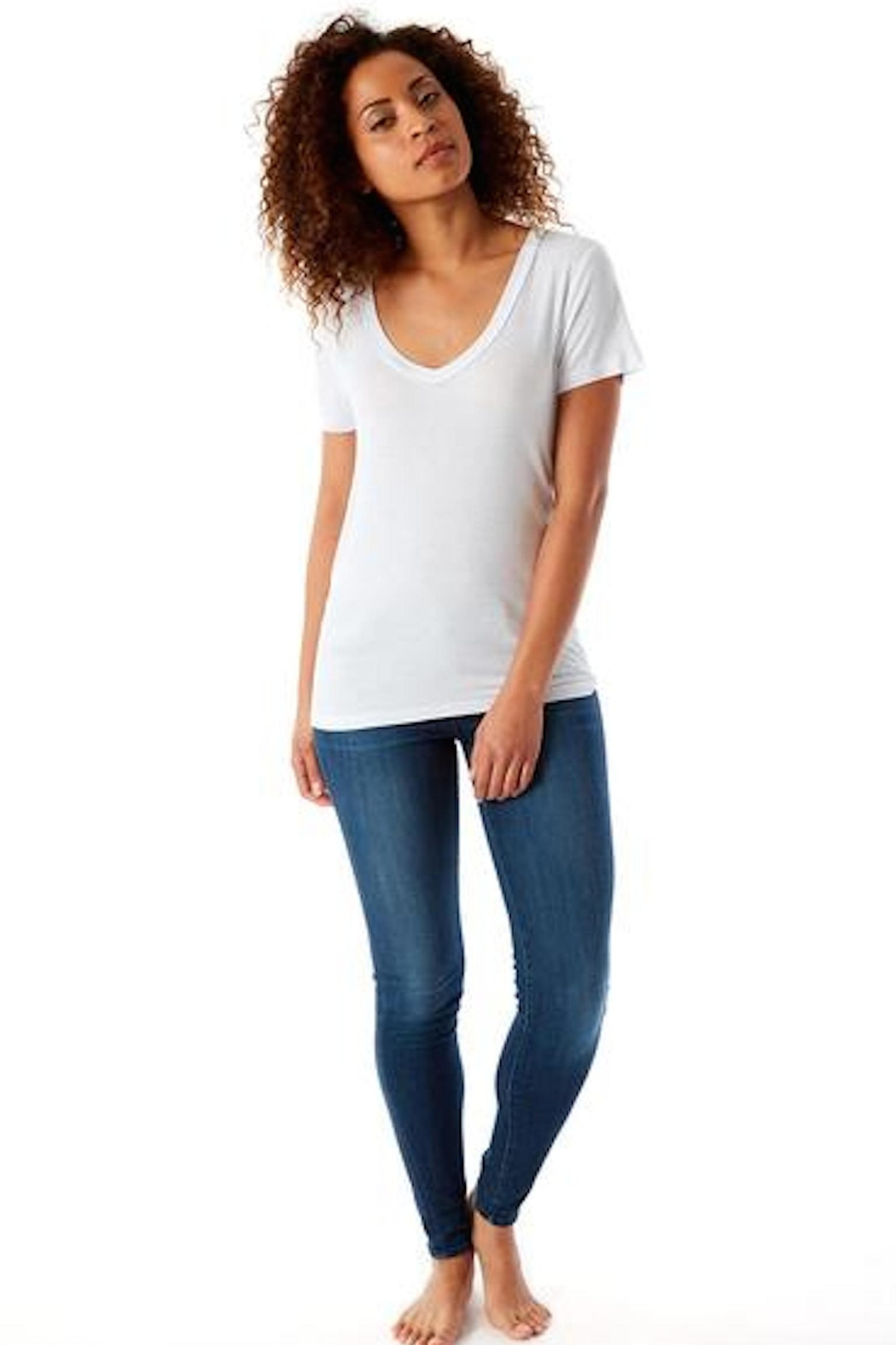 143 Story White V-Neck Tee - Side Cropped Image