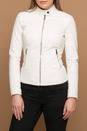 Coalition LA White Vegan-Leather Jacket - Product Mini Image