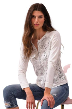 Alison Sheri White W/Silver Spots Jacket - Product List Image