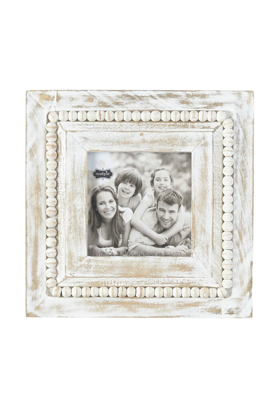 Mud Pie White-Washed Beaded Frame - Front Cropped Image