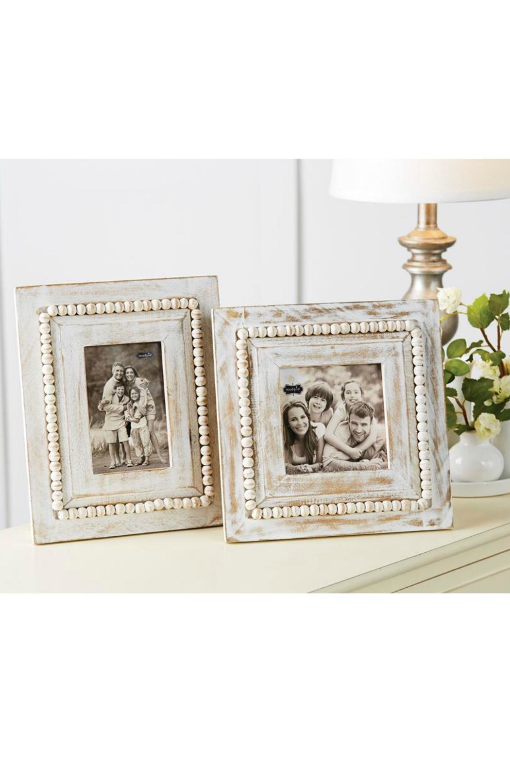 Mud Pie White-Washed Beaded Frame - Front Full Image