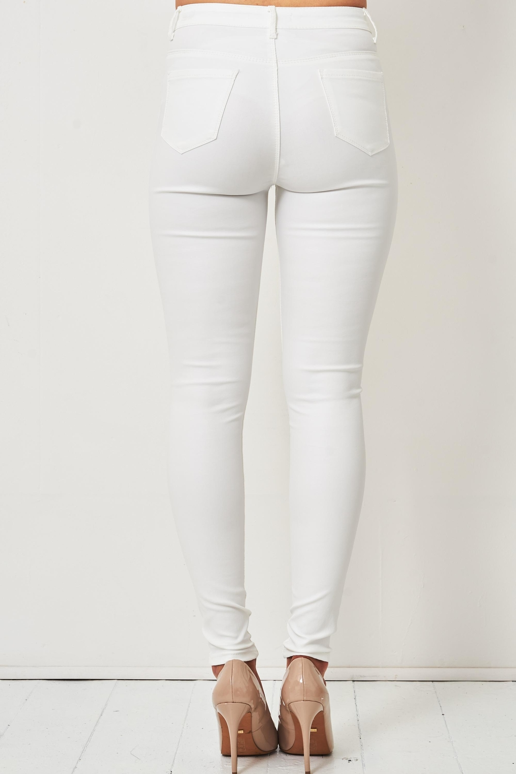 frontrow White Wax-Coated Jeans - Front Full Image